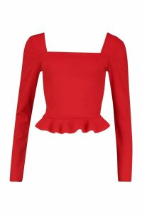 Womens Crepe Square Neck Frill Hem Top - red - 14, Red