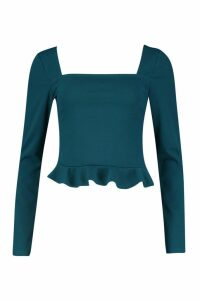Womens Crepe Square Neck Frill Hem Top - green - 10, Green