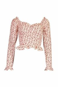 Womens Woven Floral Ruffle Detail Blouse - red - 14, Red