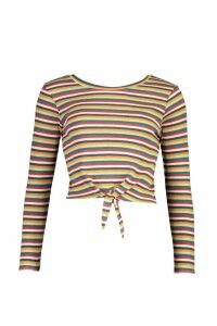 Womens Striped Ribbed Long Sleeve Knot Front Top - green - M, Green