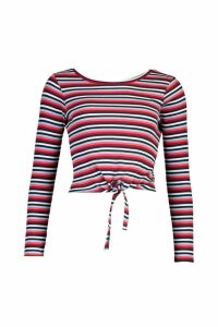 Womens Striped Ribbed Long Sleeve Knot Front Top - red - XS, Red