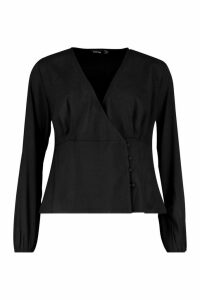 Womens Woven Button Wrap Blouse - black - 10, Black