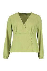 Womens Woven Button Wrap Blouse - green - 8, Green