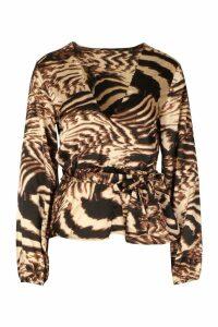 Womens Satin Animal Print Wrap Peplum Blouse - brown - 8, Brown