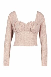 Womens Ditsy Print Long Sleeve Peplum Top - pink - 8, Pink