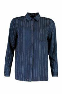 Womens Woven Stripe Shirt - navy - 10, Navy