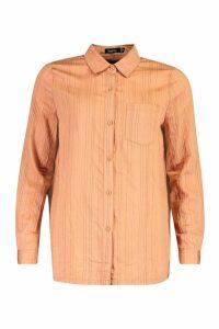 Womens Woven Stripe Shirt - orange - 14, Orange