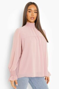 Womens Shirred Neck Cuff Smock Top - pink - 16, Pink