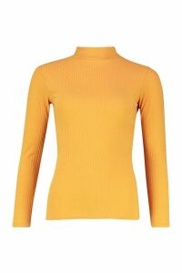 Womens roll/polo neck Rib Knit Jumper - yellow - 12, Yellow