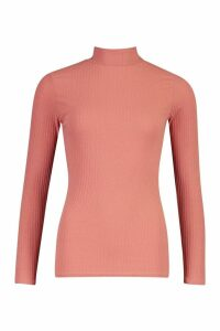 Womens roll/polo neck Rib Knit Jumper - pink - 14, Pink