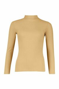Womens roll/polo neck Rib Knit Jumper - Green - 12, Green