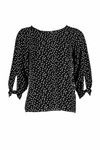 Womens Polka Dot Bow Sleeve Woven Blouse - black - 14, Black