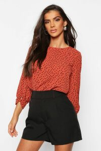 Womens Polka Dot Bow Sleeve Woven Blouse - Orange - 12, Orange