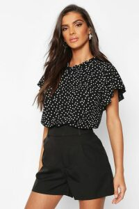 Womens Polka Dot Frill Sleeve Woven Blouse - black - 14, Black