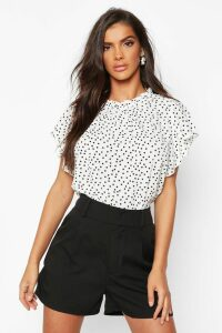 Womens Polka Dot Frill Sleeve Woven Blouse - white - 14, White
