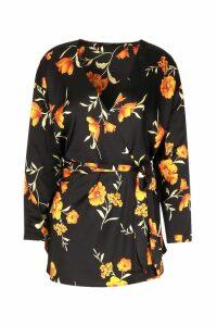 Womens Floral Print Wrap Tie Blouse - black - 10, Black