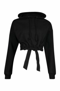 Womens Tie Waist Belted Hoody - black - XL, Black