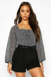 Womens Woven Ditsy Print Volume Sleeve Crop Top - black - 6, Black