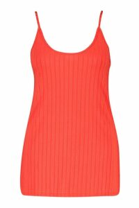 Womens Recycled Rib Long Line Cami Vest - Red - 10, Red