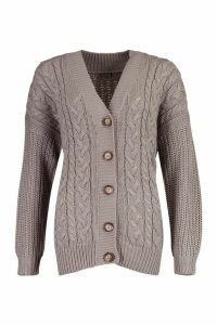 Womens Button Through Cable Knit Cardigan - mid grey - L, Mid Grey