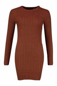 Womens Rib Knit Mini Dress - beige - M, Beige