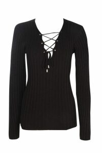 Womens Tall Lace Up Jumper - black - 14, Black