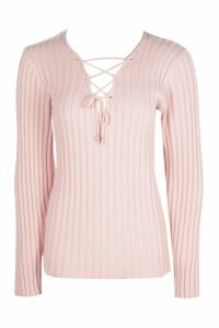 Womens Tall Lace Up Jumper - pink - 14, Pink