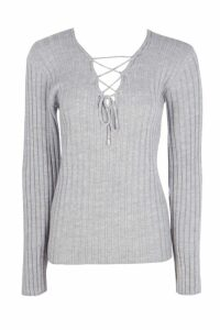 Womens Tall Lace Up Jumper - grey - 14, Grey