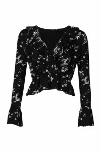 Womens Floral Print Wrap Over Top - black - 12, Black