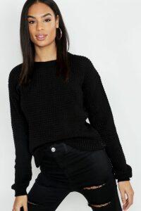 Womens Tall Waffle Knit Jumper - black - M, Black