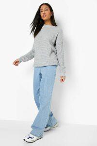 Womens Tall Waffle Knit Jumper - grey - L, Grey
