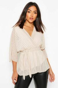 Womens Sheer Stripe Wrap Belted Blouse - cream - 10, Cream
