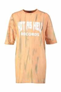 Womens Tie Dye Hot As Hell T-Shirt Dress - orange - 12, Orange