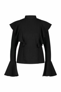 Womens Crepe Ruffle Detail Top - black - 12, Black