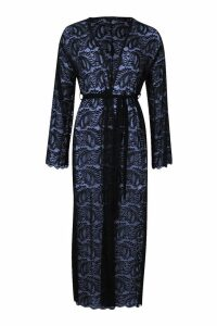 Womens Maxi Lace Tie Waist Kimono - navy - M, Navy