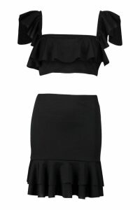 Womens Ruffle Strappy Top & Mini Skirt Co-Ord - black - 10, Black