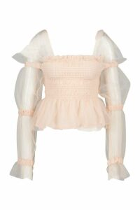 Womens Mesh Organza Tie Shoulder Ruched Detail Top - Pink - L, Pink