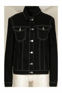 Womens Contrast Stitch Denim Jacket - black - 6, Black
