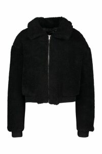Womens Crop Faux Teddy Fur Bomber Jacket - Black - 14, Black