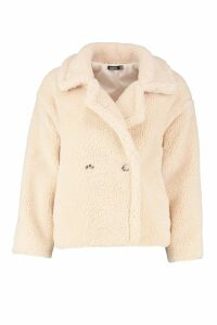 Womens Double Breasted Short Teddy Faux Fur Coat - white - 14, White