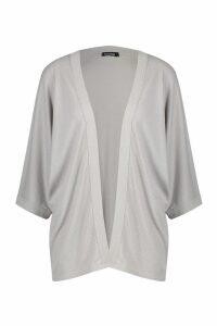 Womens Batwing Rib Kimono - grey - S/M, Grey