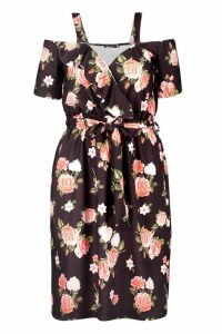 Womens Plus Floral Plunge Ruffle Belt Midi Dress - black - 20, Black
