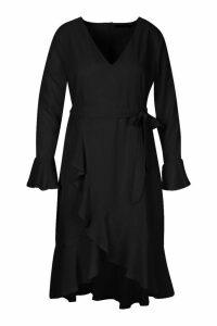 Womens Plus Plunge Neck Frill Detail Midi Dress - black - 20, Black