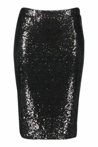 Womens Plus Sequin Midi Skirt - black - 20, Black