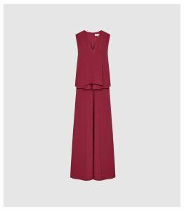 Reiss Viola - Layered Midi Dress in Berry, Womens, Size 16