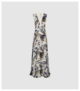 Reiss Alexi - Marble Printed Maxi Dress in Blue/white, Womens, Size 16