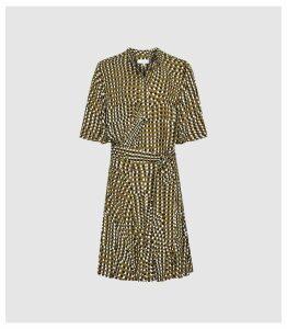 Reiss Ottoline - Spot Printed Mini Dress in Khaki, Womens, Size 16