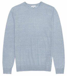 Reiss Grayson - Linen Blend Crew Neck Jumper in Soft Blue, Mens, Size XXL
