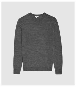 Reiss Wessex - Merino Wool Jumper in Mid Grey Melange, Mens, Size XXL