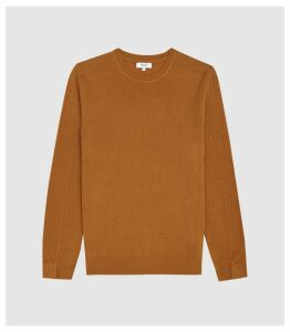 Reiss Jinks - Wool Cashmere Blend Crew Neck Jumper in Camel, Mens, Size XXL